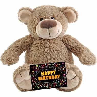 Verjaardag knuffel beer beige 22 cm + gratis verjaardagskaart