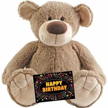 Verjaardag knuffel beer bella 100 cm + gratis verjaardagskaart