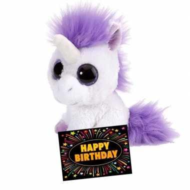Verjaardag knuffel eenhoorn 13 cm + gratis verjaardagskaart