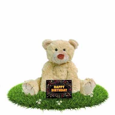 Verjaardag knuffelbeer boogy 35 cm met gratis verjaardagskaart
