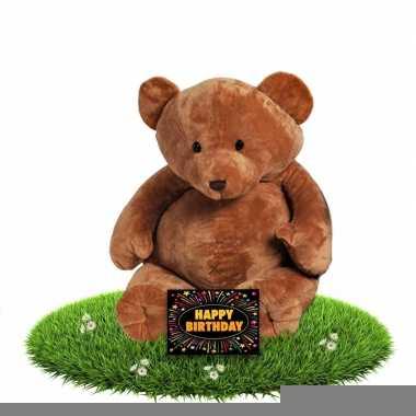 Verjaardag knuffelbeer boris 54 cm met gratis verjaardagskaart