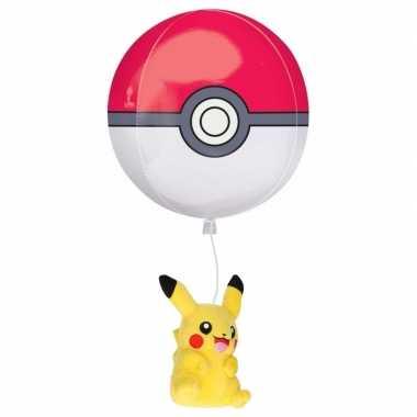 Verjaardagscadeau pokemon pikachu knuffel en pokeball ballon