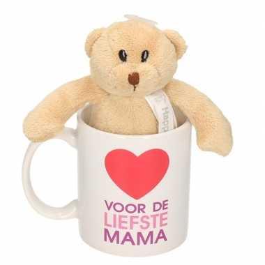 Voor de liefste mama mok / beker met knuffelbeer voor moederdag