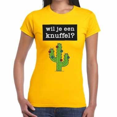 Wil je een knuffel tekst t shirt geel dames
