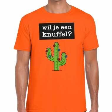 Wil je een knuffel tekst t shirt oranje heren