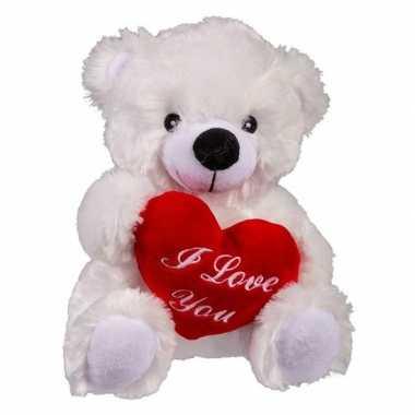 Witte pluche knuffelbeer met i love you hartje 22 cm