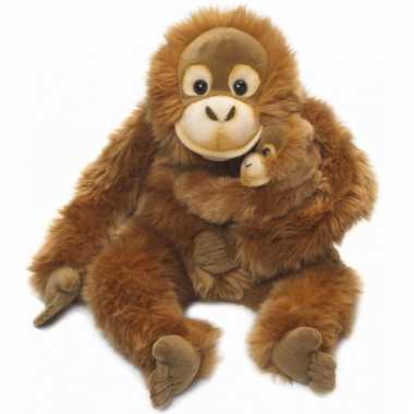 Wnf pluche orang oetan knuffel met baby 25 cm