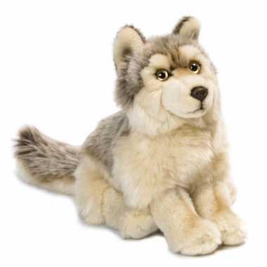 Wnf pluche wolf knuffel zittend 25 cm
