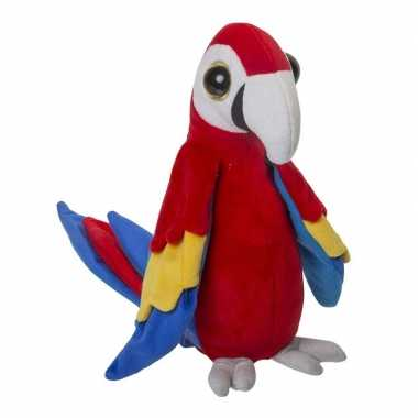 Zachte pluche papegaai knuffel rood 25 cm