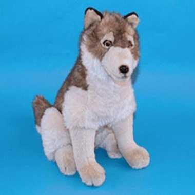 Zittende knuffel wolf 45 cm