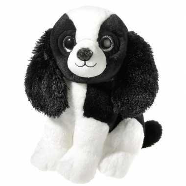 Zwart/witte pluche cocker spaniel hond knuffel 23 cm