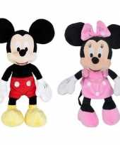 2x disney mickey en minnie mouse knuffels 19 cm speelgoed set