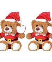 2x kerst knuffel pluche beertjes bruin zittend 18 x 19 cm speelgoed