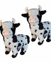 2x stuks pluche koe koeien knuffel 28 cm speelgoed
