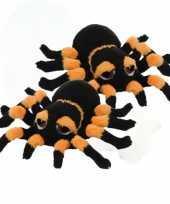 2x stuks pluche zwart oranje spin knuffel 13 cm speelgoed