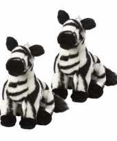 2x stuks zebra knuffeltje 18 cm