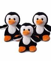 3x stuks pluche mbw pinguin knuffel 12 cm met beschrijfbaar label