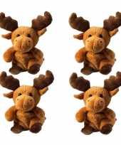 4x stuks pluche eland knuffel 14 cm met beschrijfbaar label