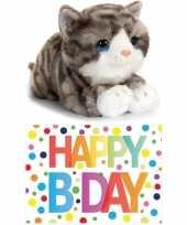 Cadeau setje pluche grijze kat poes knuffel 25 cm met happy birthday wenskaart 10250930