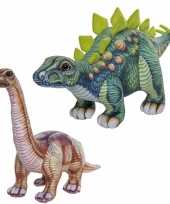 Combi van 2x knuffels dinosaurussen stegosaurus en apatosaurus