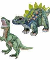 Combi van 2x knuffels dinosaurussen t rex en stegosaurus