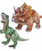 Combi van 2x knuffels dinosaurussen t rex en triceratops