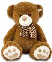 Grote pluche knuffel beer bruin met sjaal105 cm