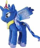 Pluche blauwe my little pony luna knuffel 35 cm speelgoed