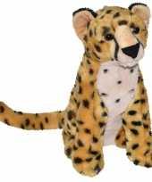 Pluche bruine panter cheetah knuffel 35 cm speelgoed