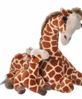 Pluche gevlekte giraffe met baby knuffel 38 cm speelgoed