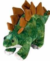 Pluche groen bruine stegosaurus dinosaurus knuffel mega 25 cm