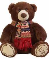 Pluche knuffel beer bruin met sjaal 65 cm