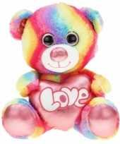 Pluche knuffelbeer regenboog 40 cm