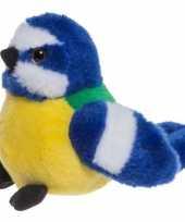 Pluche knuffelvogel pimpelmees 10 cm