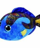 Pluche ty beanie blauwe vis vissen knuffel aqua 24 cm
