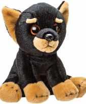 Pluche zwart bruine doberman puppy honden knuffel 14 cm