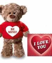 Valentijn valentijnskaart en knuffelbeer 24 cm be mine rood shirt