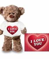 Valentijn valentijnskaart en knuffelbeer 24 cm met i love you hartje shirt