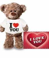 Valentijn valentijnskaart en knuffelbeer 24 cm met i love you shirt