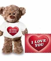 Valentijn valentijnskaart en knuffelbeer 24 cm met ik vind je leuk shirt
