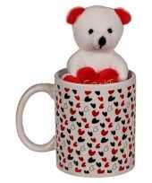 Valentijnscadeau beker met knuffelbeer