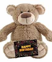 Verjaardag knuffel beer beige 22 cm gratis verjaardagskaart