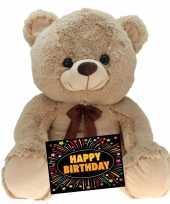 Verjaardag knuffel beer beige 75 cm gratis verjaardagskaart