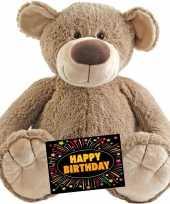 Verjaardag knuffel beer bella 100 cm gratis verjaardagskaart