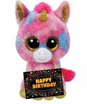 Verjaardag knuffel eenhoorn 24 cm gratis verjaardagskaart