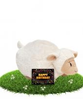 Verjaardag knuffel schaapje liggend met gratis verjaardagskaart