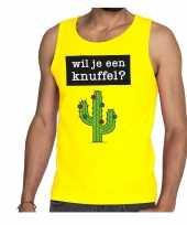 Wil je een knuffel tekst tanktop mouwloos shirt geel heren